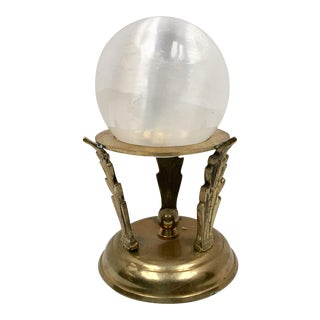 Selenite Ball on Brass Acanthus Leaf Stand For Sale