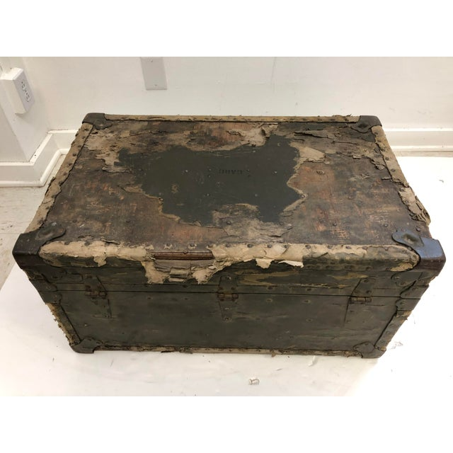 Vintage Industrial Green Military Foot Locker Trunk For Sale - Image 9 of 13