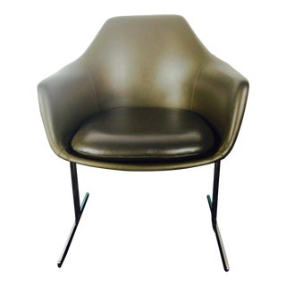 1970s Vintage Burke Fiberglass Shell Rare Leg Avacodo Vinyl Upholstery Vecta Chair For Sale