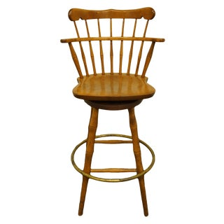 Late 20th Century S Bent Bros. Gardener Solid Maple Swivel Bar Stool For Sale