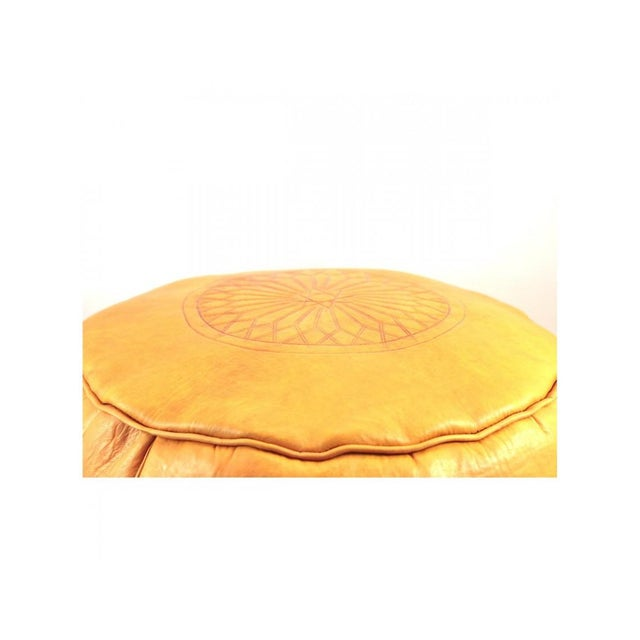 Yellow Moroccan Leather Ottoman For Sale - Image 4 of 4