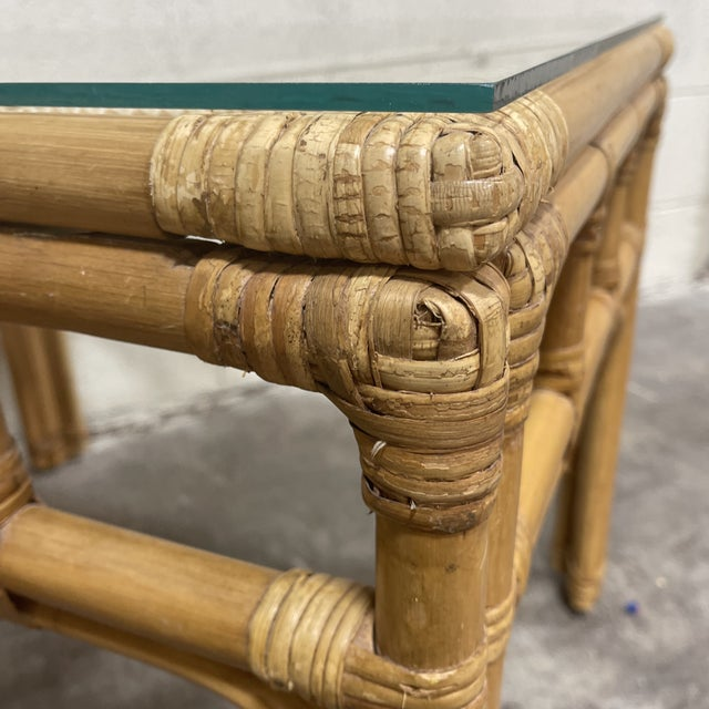 Bamboo & Wicker Glass Top End Tables For Sale In Richmond - Image 6 of 8