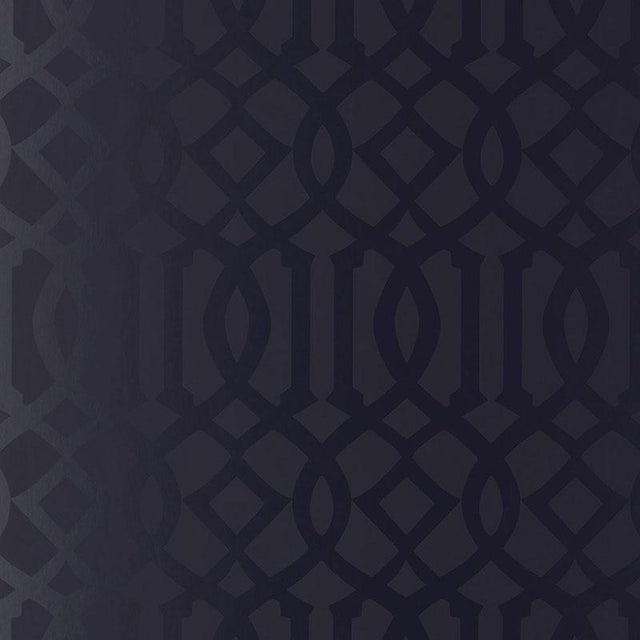 Contemporary Schumacher Imperial Trellis Wallpaper in Onyx Gloss Black - 2-Roll Set (9 Yards) For Sale - Image 3 of 3