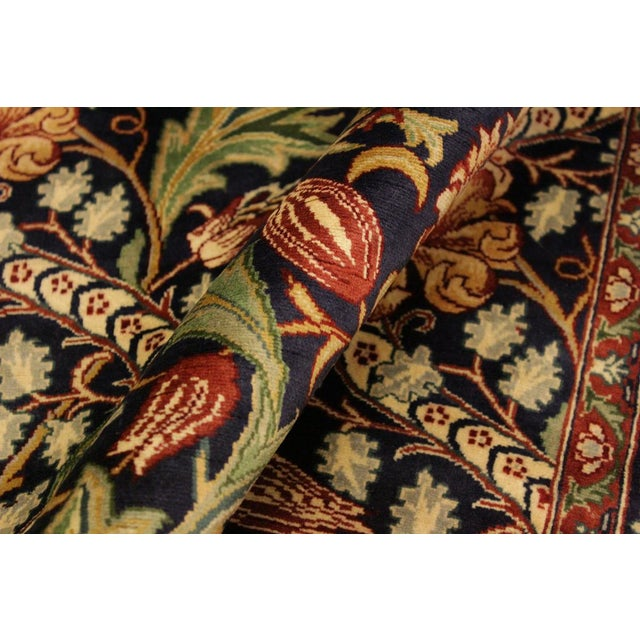Shabby Chic Art Nouveau Pak-Persian Caridad Blue/Red Wool Rug - 4'7 X 7'1 For Sale - Image 3 of 8