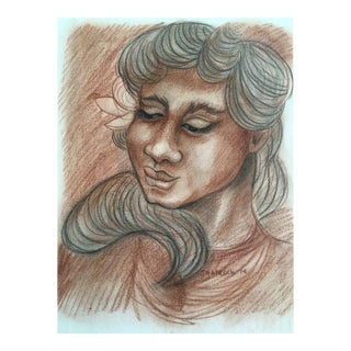 Tahitian Woman Vintage Pastel Drawing by J. Hancock For Sale