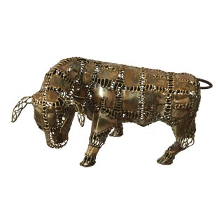 20th Century Vintage Brass Bull Sculpture For Sale
