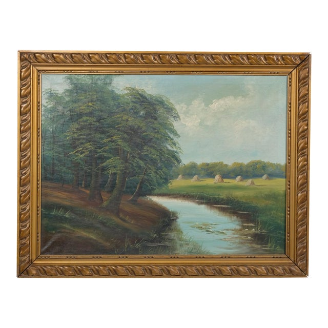 Mid-C. Landscape of a Creek Near a Pasture For Sale