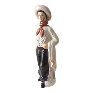 Vintage Porcelain Gaucho Decanter/Liquor Bottle For Sale