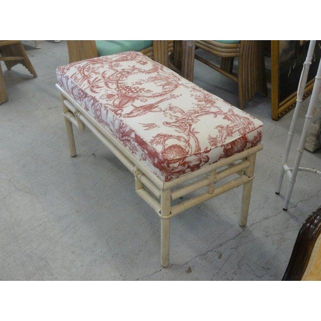 Vintage Ficks Reed Rattan Upholstered Bench - Image 4 of 5