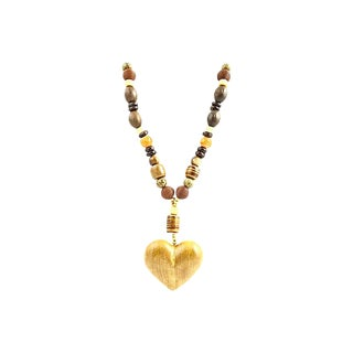 Wood Heart Necklace by Fabrice Paris For Sale
