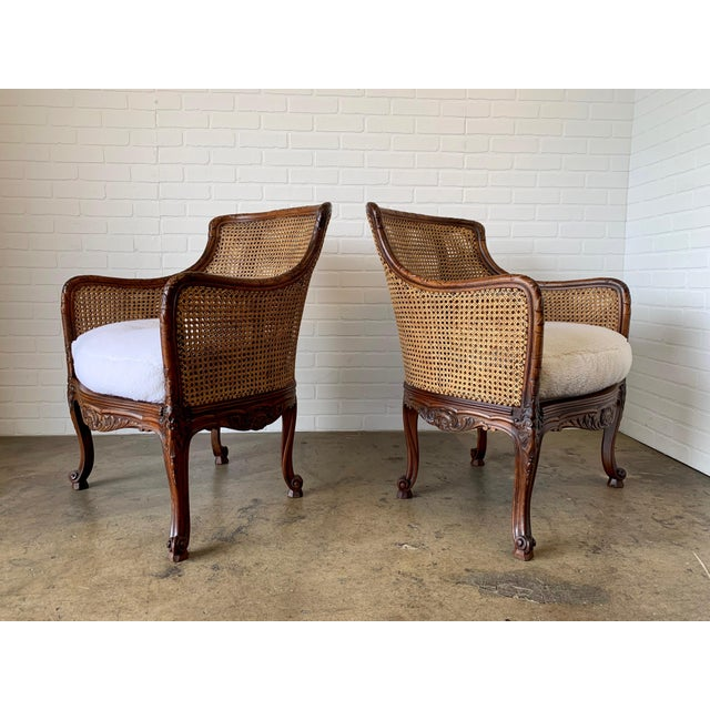 Curved Double Cane Lounge Chairs- a Pair For Sale In Los Angeles - Image 6 of 13