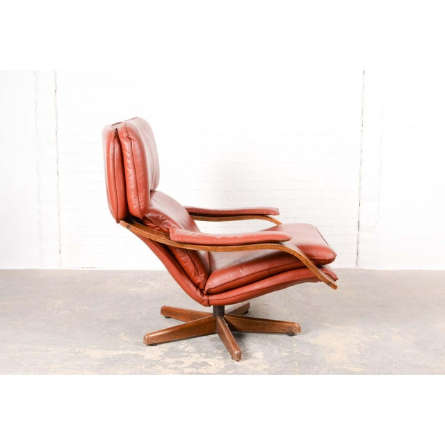 Mid-Century Modern Majestic Mid-Century Design Scandinavian Swivel Relax Maroon Leather Lounge Chair, 1960s For Sale - Image 3 of 8