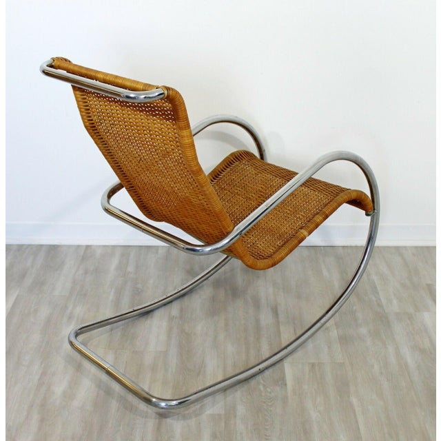 Mid Century Modern Italian Rattan Tubular Chrome Rocker Rocking Chair Italy 70s For Sale - Image 10 of 12
