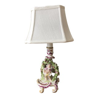 Antique French Porcelain Candlestick Lamp With Shade For Sale