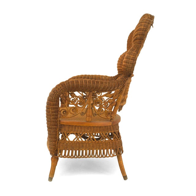 Early 20th Century American Victorian Natural Wicker Arm Chair For Sale - Image 5 of 5