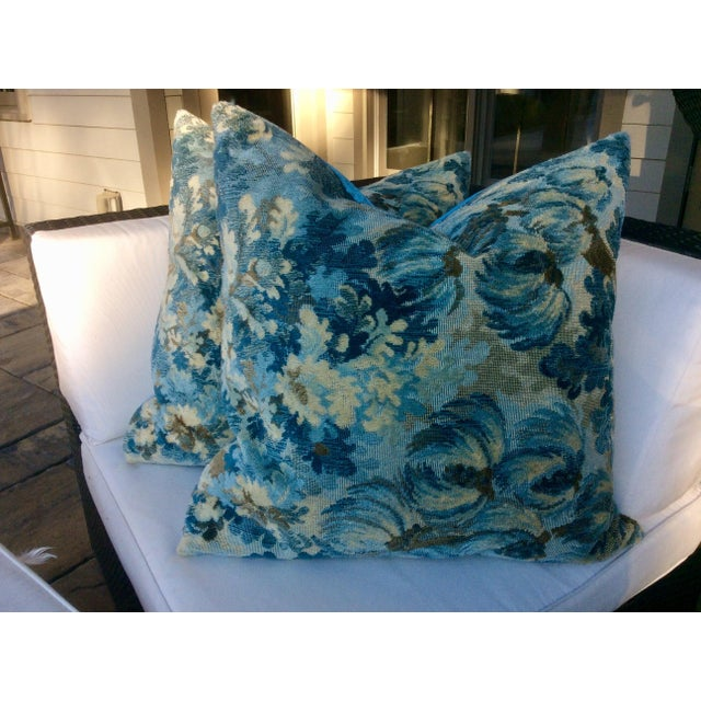 """Turquoise Brunschwig and Fils """"Great Ming"""" Twilight Velvet Pillows - a Pair For Sale - Image 8 of 8"""