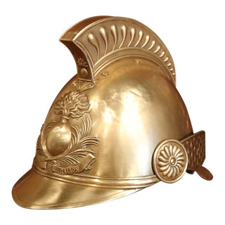 Early 20th Century French Patinated Brass and Leather Fireman Helmet With Straps For Sale