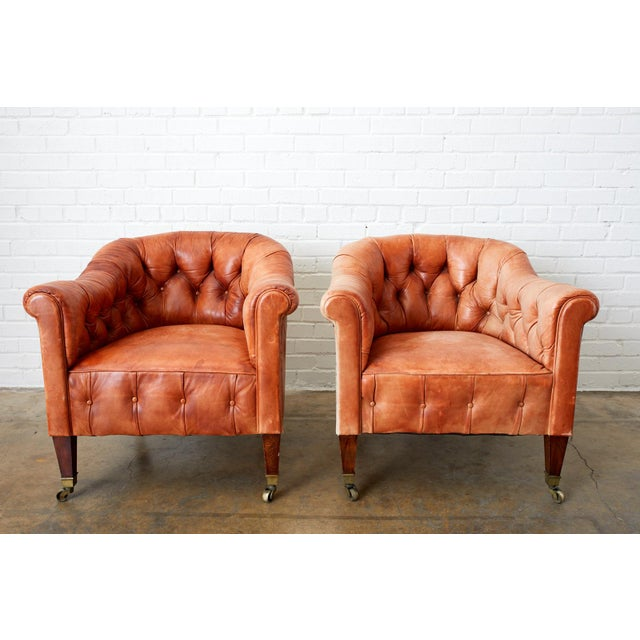 Pair of English Tufted Leather Chesterfield Club Chairs For Sale - Image 13 of 13