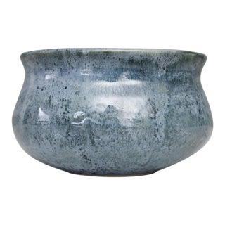 Vintage Ceramic Pottery Planter Vase Blue Handmade Mid Century For Sale