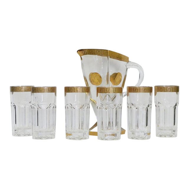 6 Rare Versace Medusa d'Or Tall Cocktails Glasses and Pitcher For Sale