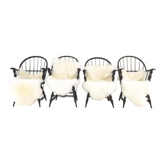 Set of 4 Beautiful Windsor Chairs with 4 New Zealand Sheepskin Throws