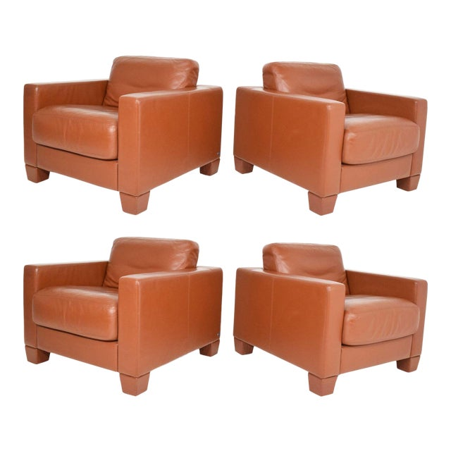 De Sede Leather Lounge Chairs- Set of 4 For Sale