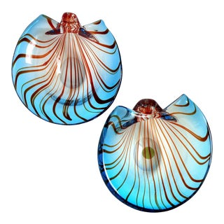 Murano Sommerso Blue and Red Stripes 1956 Italian Art Glass Seashell Bowl Set For Sale