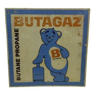 """1940 Vintage Metal """"Butagaz"""" Advertising Flange Sign"""