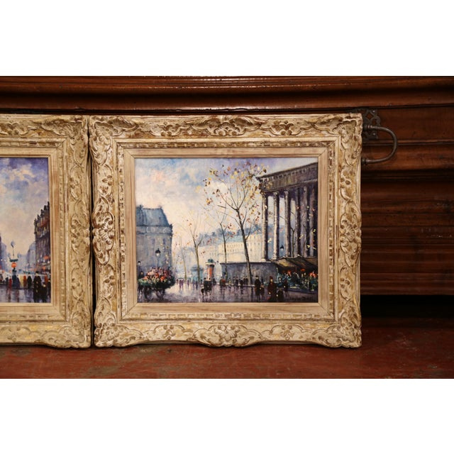 French Pair of Mid-20th Century French Paris Paintings in Carved Frames Signed L. Dali For Sale - Image 3 of 12