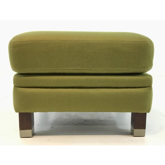 Stylish Transitional Green Herringbone Print Ottoman, dark wood legs with silver furrules, showroom floor sample