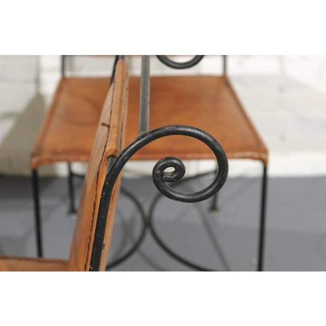Iron and Leather Dining Chairs - Set of 4 - Image 5 of 5
