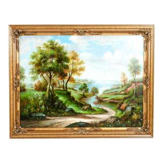 Impressionist Oil / Canvas Painting in Gilt Wood Frame For Sale