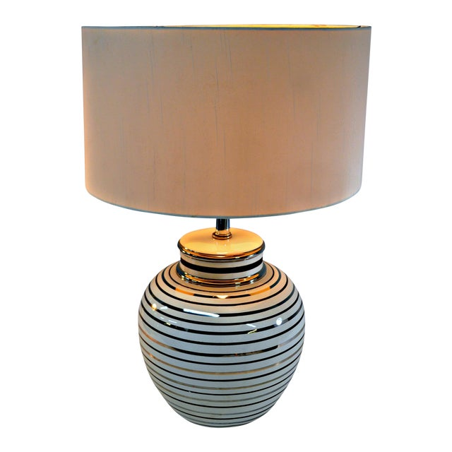 Mid Century Bowl Table Lamp & Drum Shade - Image 1 of 10