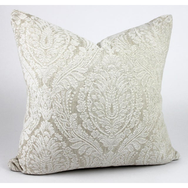 Creamy White Damask Throw Pillow For Sale In Raleigh - Image 6 of 6