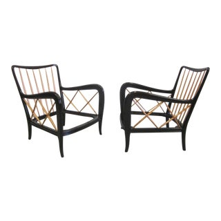 Pair of Italian Mid-Century Modern Neoclassical Lounge Chairs Attr. Paolo Buffa