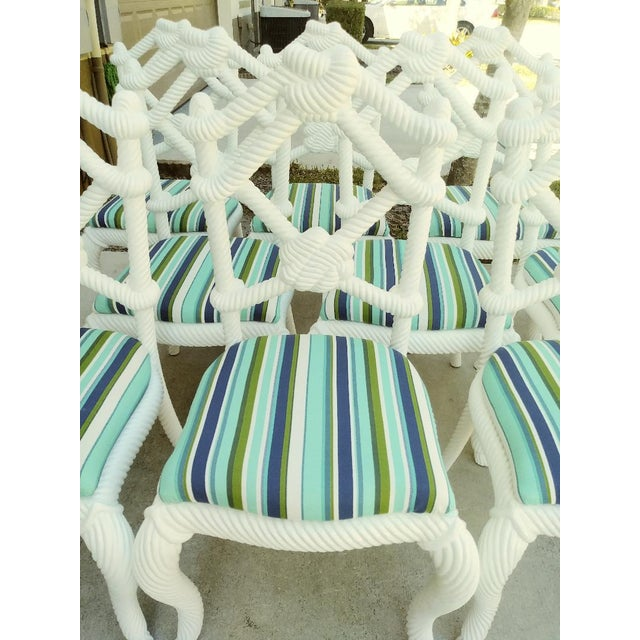 Set of 10 Stunning Gloss White Rope Knot Nautical Coastal Twisted Dining Room Chairs W/Blue Striped Fabric For Sale - Image 10 of 11