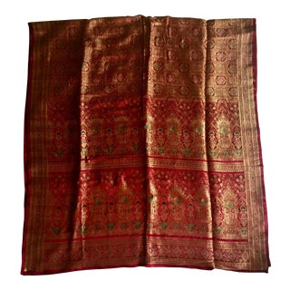 Late 20th Century Vintage Silk Sari Throw Fabric For Sale