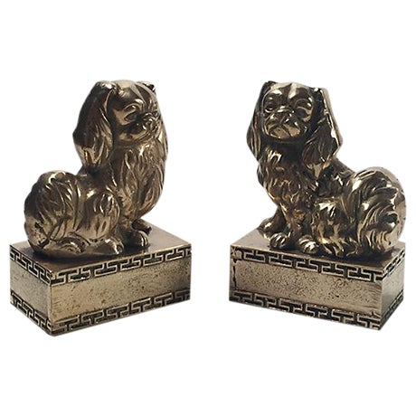 Brass Spaniel Bookends - Pair - Image 1 of 4