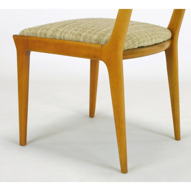 Four Renzo Rutili Walnut & Upholstered Dining Chairs For Sale - Image 9 of 10