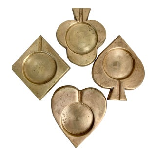 Vintage Brass Playing Card Coasters-Set of 4 For Sale