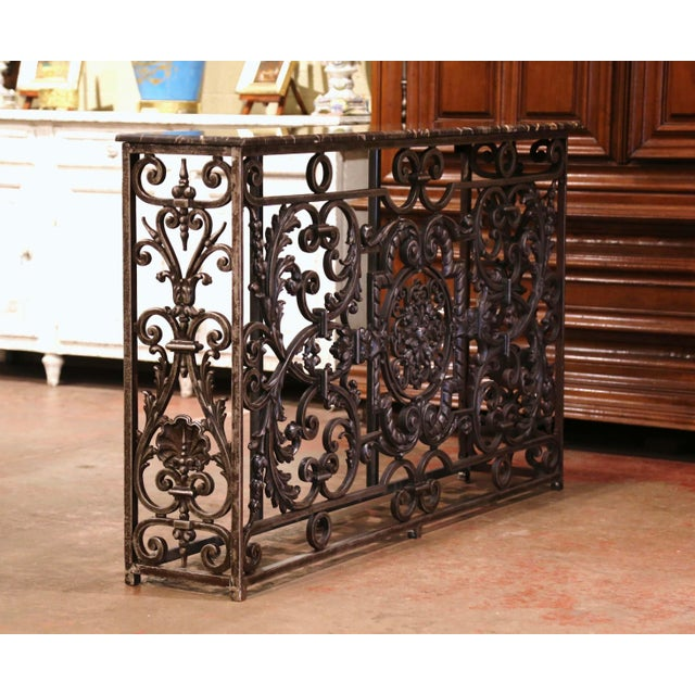 18th Century French Louis XV Polished Iron Console Table With Grey Marble Top For Sale In Dallas - Image 6 of 13