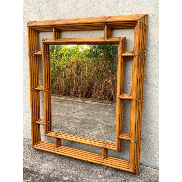 "Large bamboo & willow architectural mirror, by Henredon, with inset 31"" x 38"" mirror. Can be hung vertically or horizontally."
