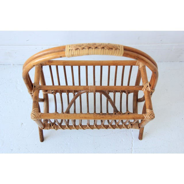Vintage Bamboo & Rattan Magazine Rack For Sale - Image 4 of 4