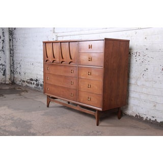Broyhill Brasilia Mid-Century Modern Sculpted Walnut Magna Dresser Chest, 1964 Preview