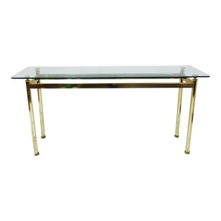 Vintage Brass & Glass Console Table