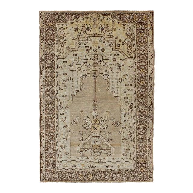 1920's Antique Turkish Oushak Prayer Rug - 4′ × 6′2″ For Sale