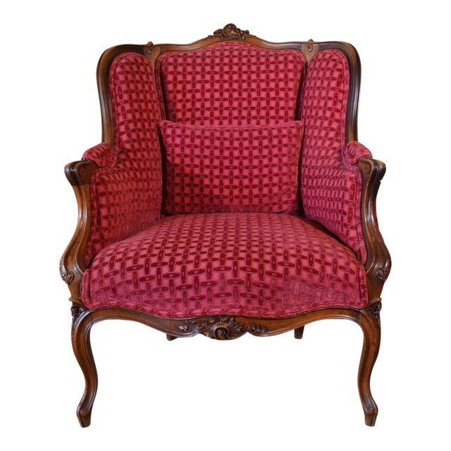 Antique French Walnut Bergere For Sale