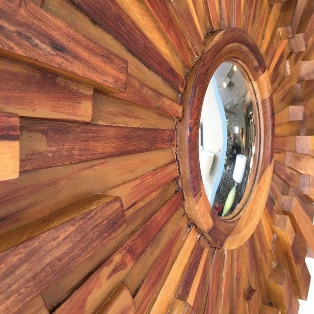 Brutalist Style Wood Sunburst Mirror For Sale - Image 4 of 5
