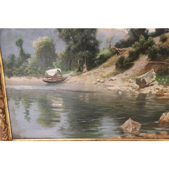 19th Century Antique Italian Oil Painting on Canvas Impressionist Landscape For Sale - Image 6 of 9
