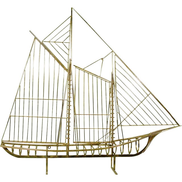 "Curtis Jere ""Skeleton"" Sailboat Wall Sculpture in Brass For Sale"
